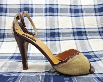 Brown Suede Vintage Scalloped Heeleds Sandals