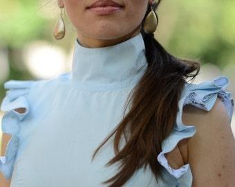 Collar Top, Turtleneck Top, Womens Blouse, Blue Blouse, Ruffle Blouse, Ruffle Top, Elegant Blouse, Light Blue Top, Cotton Blouse, Party Top