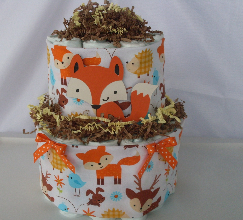 2 Tier Fox Diaper Cake Woodland Animals Diaper Cake Fox Baby