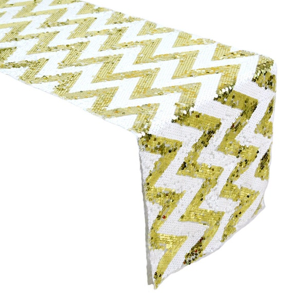 items similar to gold and white chevron sequin table runner for wedding events on etsy. Black Bedroom Furniture Sets. Home Design Ideas