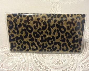 Glitter leopard checkbook cover