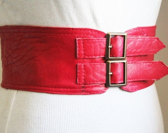 Red Corset Leather Two Gold Buckle Belt | Red Leather Belt | Corset Waist Belt | Leather Buckle Belt | Buckle Belt | Red Waist belt
