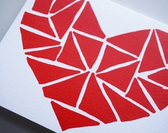 Modern Heart Blue/White - White/Red - Blue/Red Valentine Screen Printed Folded Greeting Card