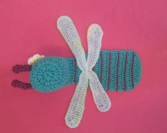 Baby Dragonfly Handmade Crocheted Capelet/Baby Photo Prop/Baby Shower Gift