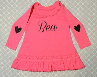 Personalized Dress Fuchsia Pink with Black Glitter