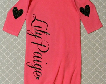 Lovely Baby Gown  Fuschia Pink / Black Glitter