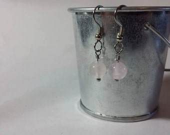Genuine Rose Quartz Earrings