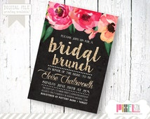 Fresh and Modern Watercolor Floral Bridal Brunch Invitation - CUSTOMIZABLE PRINTABLE INVITATION - Watercolor Style Flowers and Gold Font