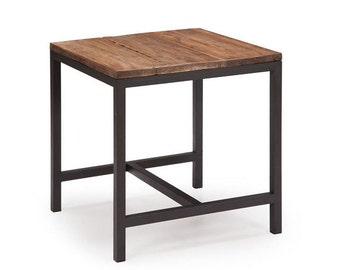 Simple steel and wood side table.
