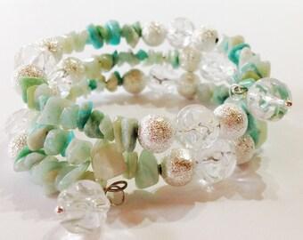 Green Amazonite Bracelet Green Blue Bracelet Memory Wire Beaded Bracelet Gift For Her Quartz Bracelet Green Jewelry Blue Jewelry Xmas Gift