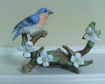 Bird Watcher's Collection Bisque Bird and Flowers Figurine  Candle Holder, PartyLite.
