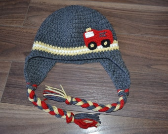 MADE TO ORDER - Fire Truck Hat, Boys Hat, Winter Hat, Kids Gift, Fireman