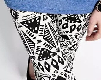 Black and White Spandex Print Leggings