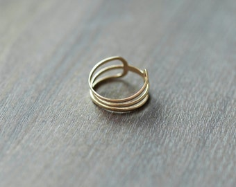 14k Solid Gold Ring, Delicate Stacking Rings