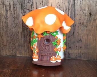 Handmade fairy toadstool house lamp