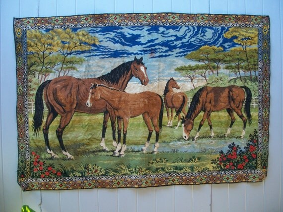 1970s tapestry horses rug mural wall hanging 48 x 72 for Telephone mural 1970