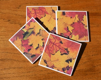 Ceramic Coasters, Fall Leaves Ceramic Coaster, Set of 4 Drink Coasters, Coffee Coasters,Table Coasters,  Home Decor, Gifts
