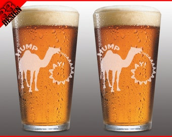 2 Glass Set - Hump Day - Custom Engraved Beer Pint Glasses -  Personlized etch with your Name or Text