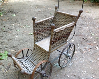 Wicker Baby Doll Carriage Stroller Buggy Front Wood Wheels