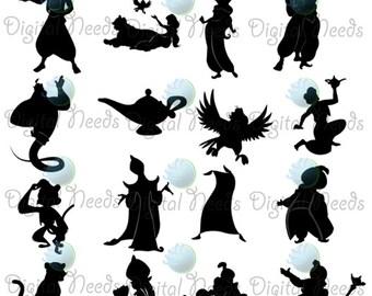 Aladdin silhouettes etsy for Aladdin and jasmine on carpet silhouette