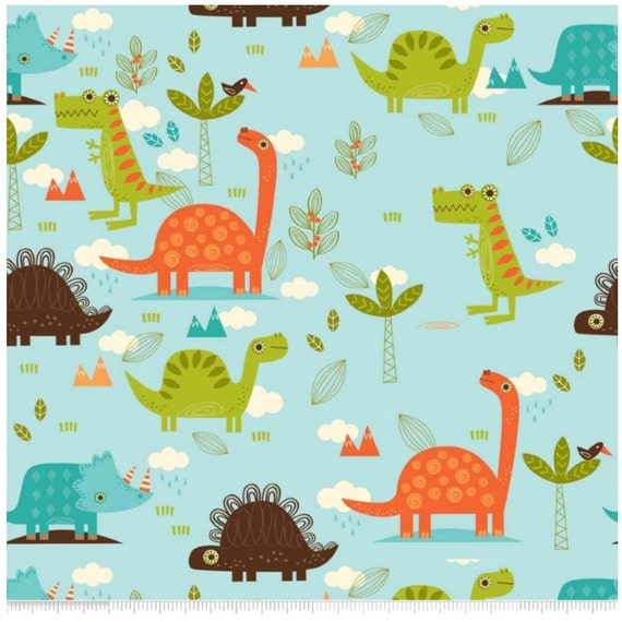 Dinosaur fabric yardage blue main fabric collection by for Dinosaur fabric