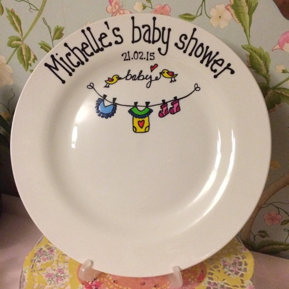 Baby shower signature plate by prettyplatesplease on etsy