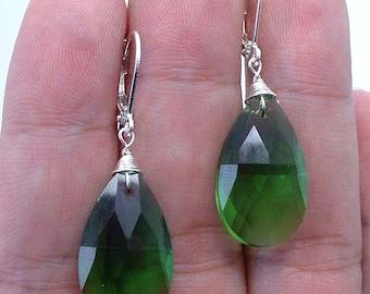 NovaDesign  Faceted Emerald Green Quartz  Sterling Silver  Earrings  -- Leverbacks !