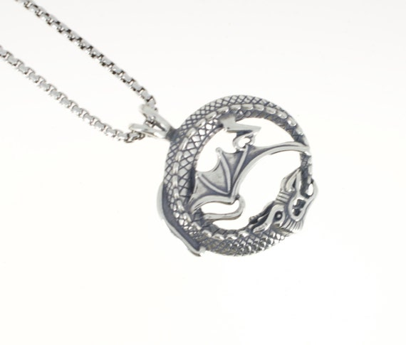 Dragon pendant in sterling silver on 1.6 mm sterling silver box chain with lobster claw clasp. Game of Thrones.