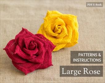 Instant Download - Crochet Flower Pattern - Crochet Rose Pattern - Crochet Pattern - Large Rose Pattern - PDF Tutorial