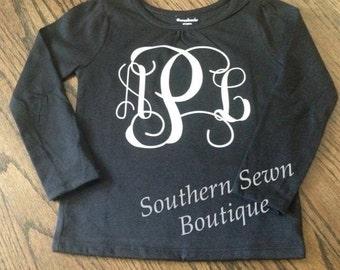 Little Girls Vine Monogram Longsleeve Shirt