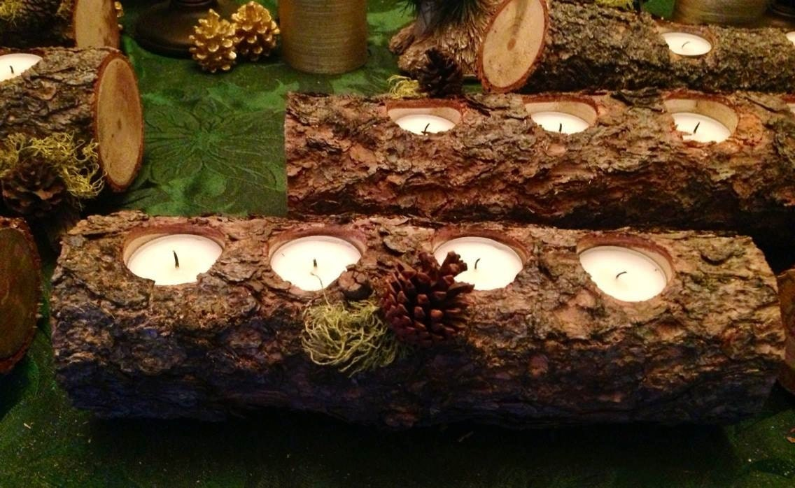 Sale yule log candle holders over 12 for Log candles diy