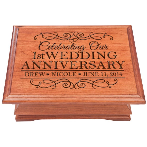 St wedding anniversary jewelry box personalized
