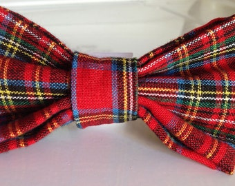 Red Plaid Christmas Bow Tie Collar Accessory