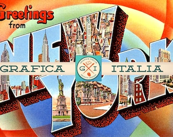 Greetings From NEW YORK Clipart Download - Vintage Large Letter Postcard - Digital Download Printable Graphic Image Cards Invitations
