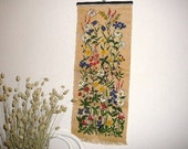 Swedish Vintage Hand Printed Wall Decor Wall Hanging Yellow Green Meadow Flowers Retro Decor Scandinavian Design, Signed H.K. @91