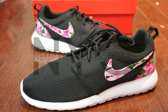 5b90a9c7024d Nike Roshe Run Black White Azalea Garden Floral Print by NYCustoms 70%OFF