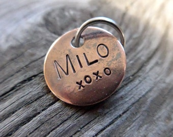 Custom hand stamped personalized pet id name tag for dog or cat collars/key chains