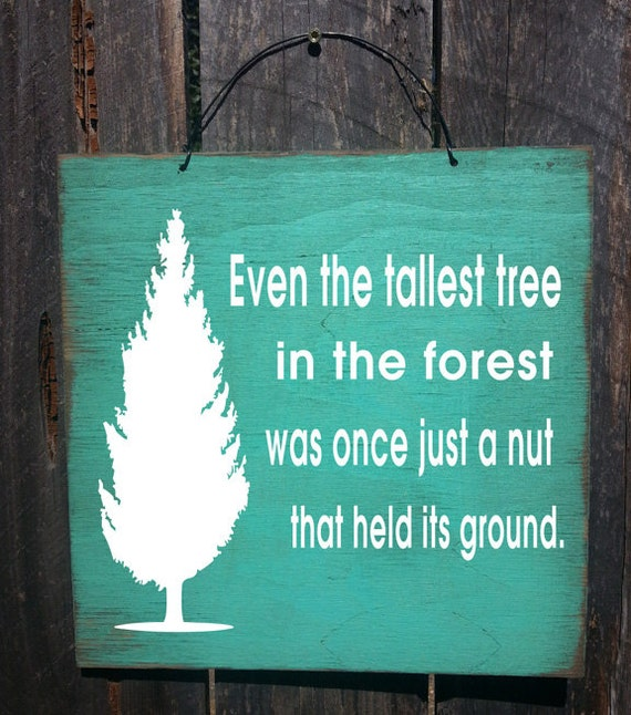 even the tallest tree was once just a nut, inspirational sign, rustic sign, motivational decor,tree sign, nature decor, inspirational gift