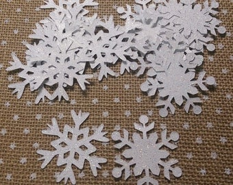 White Glitter Snowflakes for Scrapbook, Card Making, Christmas Ornament Embellishment  (20)