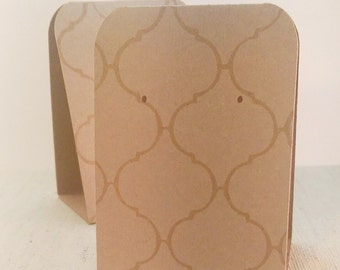 12 Earring Display Tent Cards White Moroccan Tile on Kraft, Jewelry Display Card, Craft Show Display, Earring Card