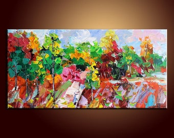 Oil Painting Forest Painting Landscape Painting Original Painting Abstract Art Impasto Texture Oil Painting Palette Knife Oil Painting