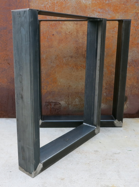 Thick Industrial U Shape Metal Table legs 4×2 by  ~ Table Bois Pied Metal