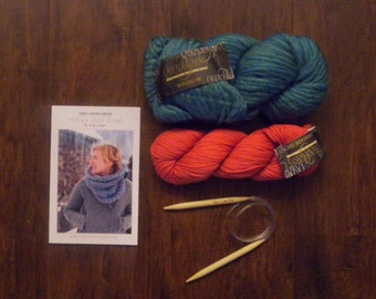 Snowy Day Cowl-Turquoise and Coral