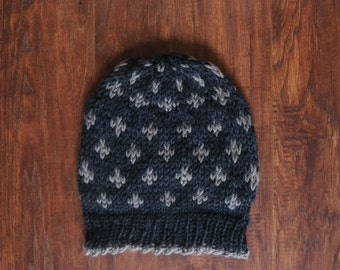 Buckhorn Cap Knitting Kit-Grey and Forest Green