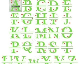 Complete Split Alphabet from A to Z suitable for Glass Blocks, Cards and Framing SVG Digital Cutting File.