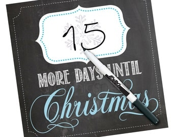 CHRISTMAS COUNTDOWN - More days until Christmas Chalkboard - Dry Erase by Graphics Mesh