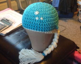 Crocheted Frozen inspired Elsa Hat with Braid