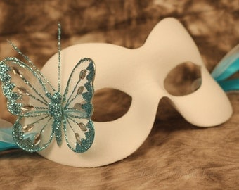 White Masquerade Mask Christmas Party Glitter Butterfly & Ribbon Ties