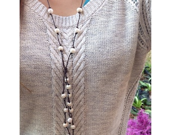 Long Freshwater Pearl Leather Necklace