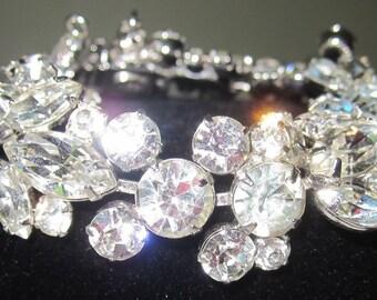 Sparkling Vintage Weiss Bracelet~Clear Crystal Rhinestones~Signed